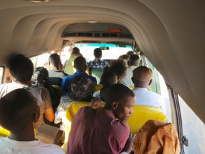 The minibus experience. Normal van. Crammed in seating for 16. Fits 25 comfortably, with livestock