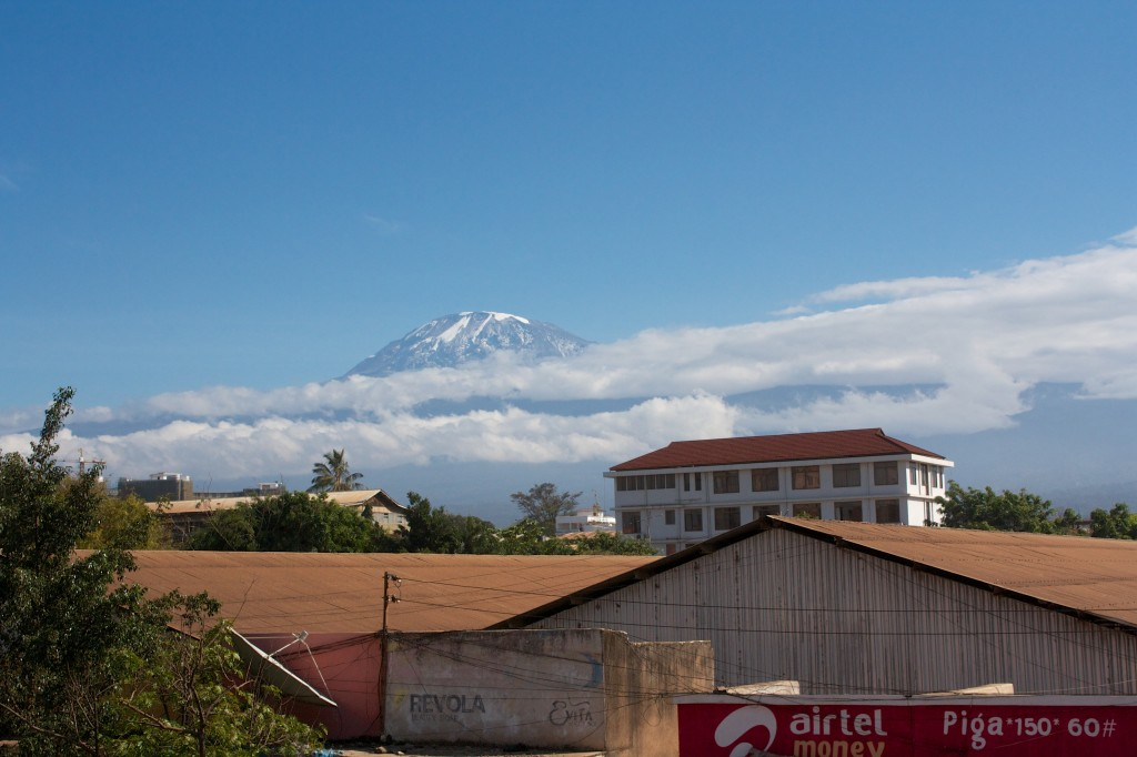 Kilimanjaro rises like Olympus above our hotel room.